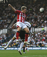 Photo: Steve Bond/Richard Lane Photography. Derby County v Sheffield United. Coca-Cola Championship. 13/09/2008. Darius Henderson (L) gets above Dean Leacock (lower R)