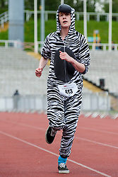 Sheffield Half Marathon Fun Run Sunday Morning.First zebra to cross the line on the fun run..12 May 2013.Image © Paul David Drabble