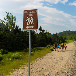The Appalachian Trail crossing on New Hampshire Route 16 in Pinkham Notch. White Mountain National Forest.