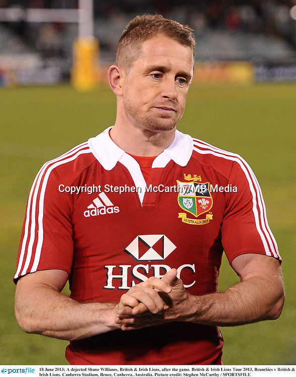 18 June 2013; A dejected Shane Williams, British & Irish Lions, after the game. British & Irish Lions Tour 2013, Brumbies v British & Irish Lions. Canberra Stadium, Bruce, Canberra, Australia. Picture credit: Stephen McCarthy / SPORTSFILE