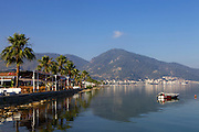 A seaside restaurant with views out across Fethiye bay to the mountains