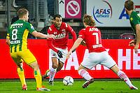 ALKMAAR - 04-12-2015, AZ - ADO Den Haag, AFAS Stadion, 0-1, ADO Den Haag speler Aaron Meijers, AZ speler Mounir El Hamdaoui, AZ speler Guus Hupperts.