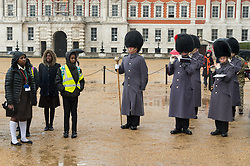 © Licensed to London News Pictures. 12/03/2018. London, UK. 400 members of the Commonwealth Children's Choir accompanied by the Band of the Coldstream Guards take part in a short programme of musical celebration to mark Commonwealth Day 2018. The choir performed at Horse Guards parade and comprised of school children aged 9 to 18, on this occasion from London, Essex and Dorset, represent all 53 Nations of the Commonwealth. Photo credit: Ray Tang/LNP