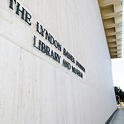 Sign on the exterior of the building at the Lyndon Baines Johnson Library and Museum in Austin, Texas.