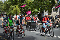 Sound system along the Victoria Embankment. The Prudential RideLondon FreeCycle. Saturday 28th July 2018<br /> <br /> Photo: Ian Walton for Prudential RideLondon<br /> <br /> Prudential RideLondon is the world's greatest festival of cycling, involving 100,000+ cyclists - from Olympic champions to a free family fun ride - riding in events over closed roads in London and Surrey over the weekend of 28th and 29th July 2018<br /> <br /> See www.PrudentialRideLondon.co.uk for more.<br /> <br /> For further information: media@londonmarathonevents.co.uk