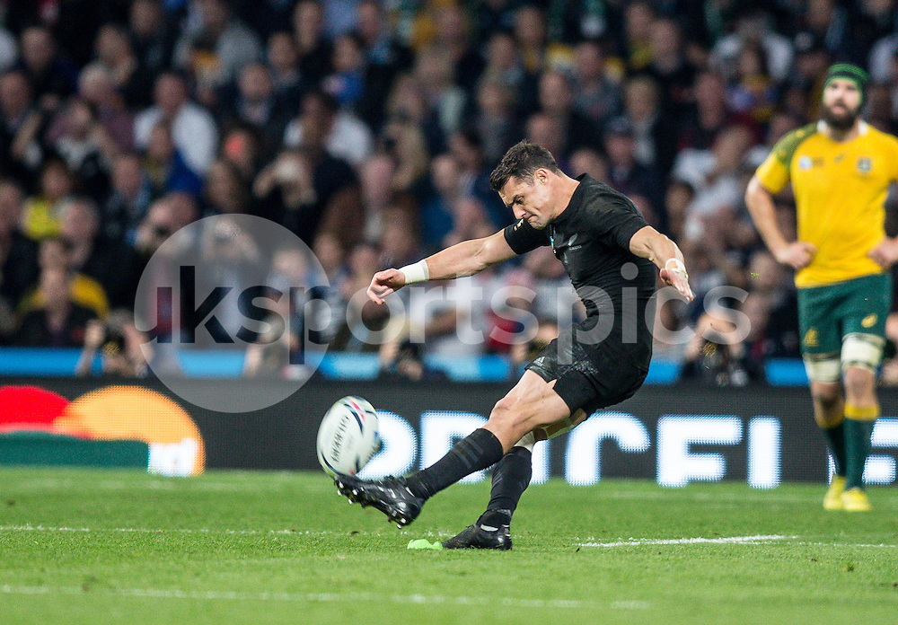 Daniel Carter of New Zealand slots over a penalty during the Rugby World Cup Final match between New Zealand and Australia played at Twickenham Stadium, London on the 31st of October 2015. Photo by Liam McAvoy