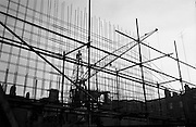 06/03/1964<br /> 06/03/1964<br /> 06 March 1964<br /> View of the Abbey Theatre construction site. &quot;Silhouette in Steel! The structural steelwork of the new Abbey Theatre rises starkly skyward at Abbey Street, Dublin.