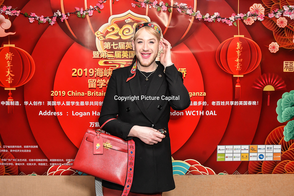 Lewis-Duncan weedon is a Celebrity ambassador for the princes trust attends the 7th 2019 Chinese New Year Extravaganza showcasing more than 300 performers including musical Chinese dance , Taiji ,Kungfu,magic face change and much more at Logan Hall. The performance from more than 20 arts groups from China and UK on 2nd Febuary 2019, London, UK.