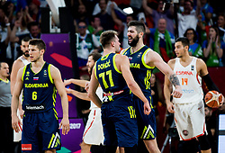 Luka Doncic of Slovenia and Ziga Dimec of Slovenia celebrate during basketball match between National Teams of Slovenia and Spain at Day 15 in Semifinal of the FIBA EuroBasket 2017 at Sinan Erdem Dome in Istanbul, Turkey on September 14, 2017. Photo by Vid Ponikvar / Sportida