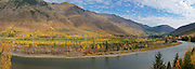 Panoramic of the North Fork Flathead River Valley in fall 14 years after the Moose fire. Flathead County, northwest Montana.