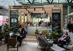 Pop up cafe inside new Bikini Berlin shopping Mall in Charlottenburg, Berlin, Germany