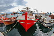 Colourful fishing boats in a harbour on Pelion Peninsula, Thessaly, Greece