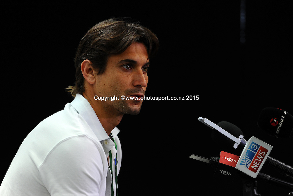 David Ferrer from Spain talks to the media about not playing at this years Heineken Open. ASB Tennis Centre, Auckland, New Zealand. Monday 12 January 2015. Copyright photo: Chris Symes/www.photosport.co.nz