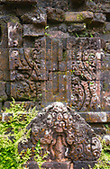 A close-up of stone carvings on Cham Temple ruins at the My Son Sanctuary, Quang Nam Province, Vietnam, Southeast Asia