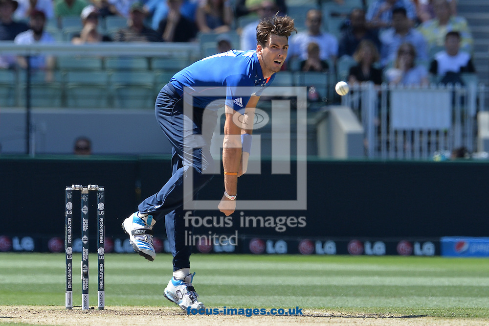 Steven Finn bowls during the 2015 ICC Cricket World Cup match at Melbourne Cricket Ground, Melbourne<br /> Picture by Frank Khamees/Focus Images Ltd +61 431 119 134<br /> 14/02/2015