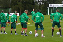 18.07.2011, Oeschberghof, Donaueschingen, Trainingslager 2011 GER, 1.FBL, Werder Bremen Trainingslager Donaueschingen 2011, im Bild Dehnuebung mit dem Stretchband ..// during the trainings session from GER, 1.FBL, Werder Bremen Trainingslager Donaueschingen 2011 on 2011/07/18,  Oeschberghof, Donaueschingen, Germany..EXPA Pictures © 2011, PhotoCredit: EXPA/ nph/  Kokenge       ****** out of GER / CRO  / BEL ******