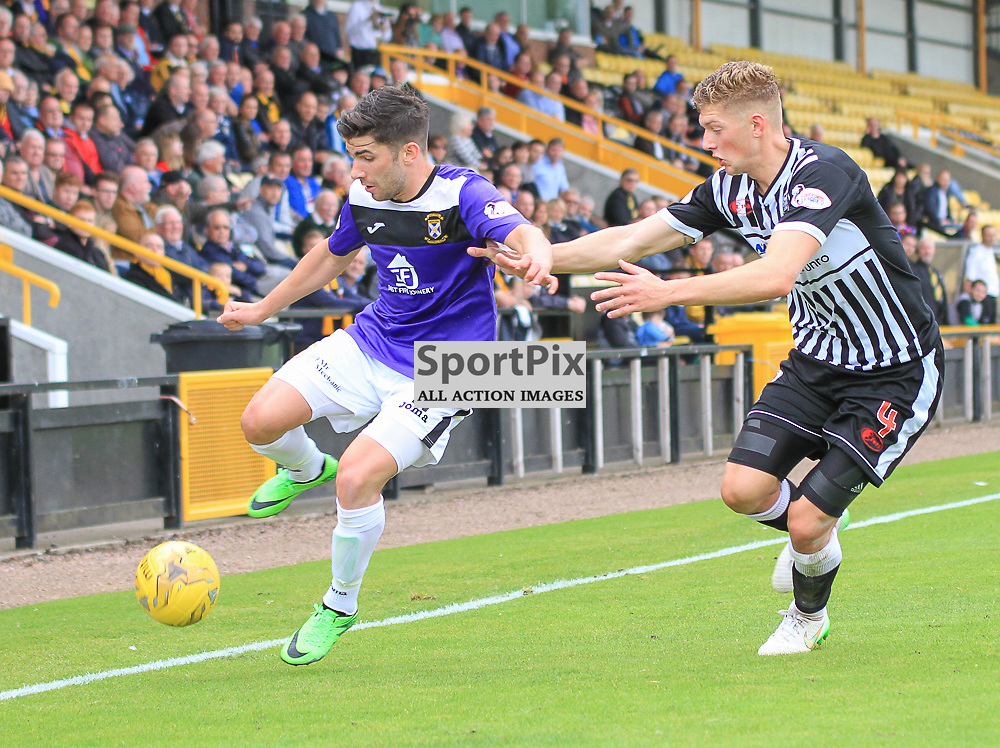 East Fife V Elgin Scottish League Two 22 August 2015; East Fife's Kyle Wilkie and Elgin's Liam Gordon during the East Fife V Elgin City Scottish League Two match played at Bayview Stadium, Methill.