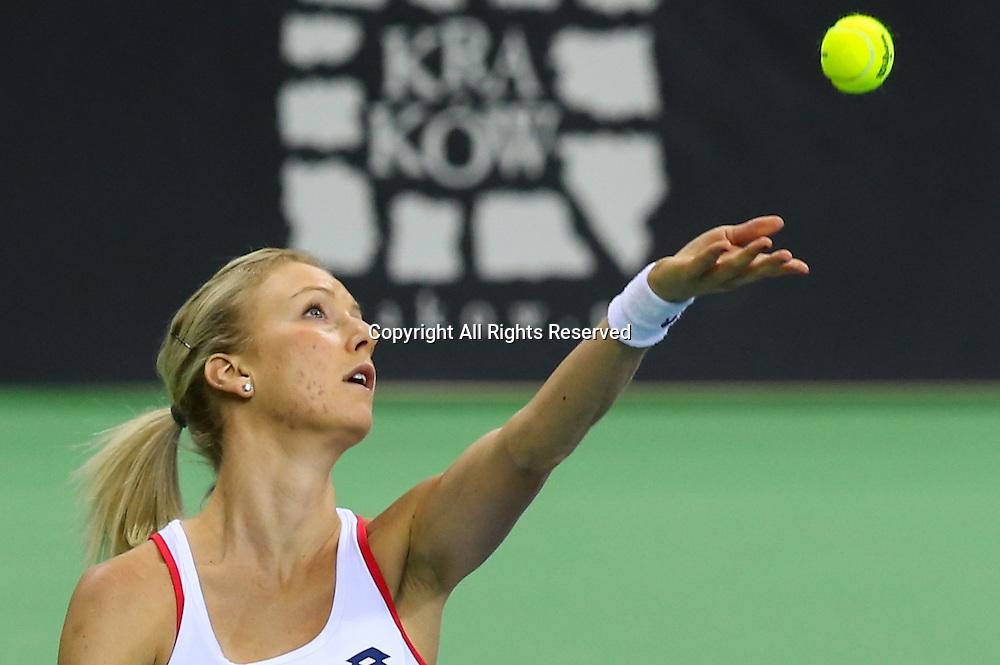 07.02.2015. Krakow, Poland, Fed Cip international tennis tournement, Poland versus Russia.  Urszula Radwanska (POL)