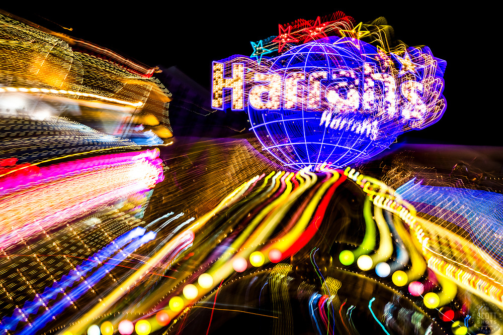 """""""Las Vegas Lights 9"""" - Photograph taken at the Las Vegas, Nevada Strip at night. The look was achieved by shooting a handheld long exposure and zooming the lens during the exposure."""