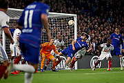 Chelsea FC defender Gary Cahill (24) with an acrobatic effort during the Europa League match between Chelsea and MOL Vidi at Stamford Bridge, London, England on 4 October 2018.