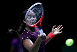October 28, 2018 - Singapore - Sloane Stephens of the United States returns a shot during the Singles Championship match between Sloane Stephens and Elina Svitolina on day 8 of the WTA Finals at the Singapore Indoor Stadium. (Credit Image: © Paul Miller/ZUMA Wire)