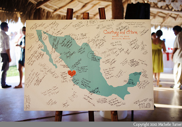 Guest Book Map: Courtney and Storm's Sayulita Wedding at Don Pedro's Palapa.   Image by Sayulita wedding photographer Michelle Turner.