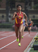 Mar 18, 2017; Los Angeles, CA, USA: Anna Cockrell runs the anchor leg on the Southern California Trojans women's 4 x 400m relay that won in 3:38.55 during the Trojan Invitational at Cromwell Field.
