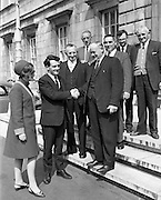 Newly elected Deputy Desmond O'Malley, and his wife, Pat, being welcomed at Dail Eireann by Deputy Paddy Clohessy, Senator Patrick Ryan, and some friends from his East Limerick constituency. <br /> 28.05.1968