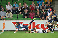 Richard Kingi (Rebels) flys twards the try line during the Round 9 match of the 2013 Super Rugby Championship between RaboDirect Rebels vs Southern Kings at AAMI Park, Melbourne, Victoria, Australia. 13/04/0213. Photo By Lucas Wroe
