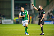 Ryan Porteous (#36) of Hibernian FC gets a yellow card during the Ladbrokes Scottish Premiership match between Hibernian and Rangers at Easter Road, Edinburgh, Scotland on 19 December 2018.