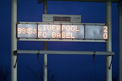 LIVERPOOL, ENGLAND - Tuesday, December 9, 2014: Liverpool's scoreboard records the 99th minute as the game has 14 minute of injury time against FC Basel during the UEFA Youth League Group B match at Langtree Park. (Pic by David Rawcliffe/Propaganda)