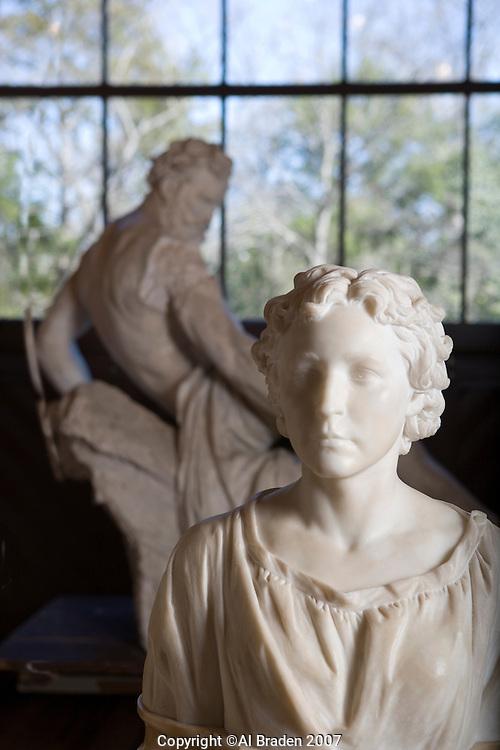 Elizabeth Ney and Prometheus Bound Sculpture at Elizabet Ney Museum, Austin, Texas.