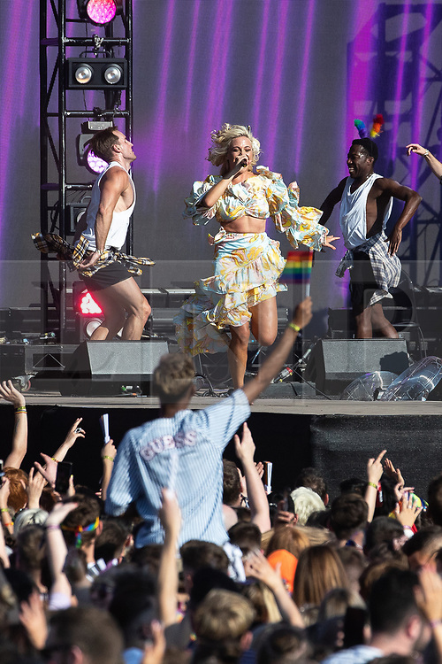 © Licensed to London News Pictures . 25/08/2019. Manchester, UK. PIXIE LOTT performs on the stage . Fans of Ariana Grande and other musical acts gather at Mayfield Depot ahead of performances this evening . Manchester's annual Gay Pride festival , which is the largest of its type in Europe , celebrates LGBTQ+ life . Photo credit: Joel Goodman/LNP