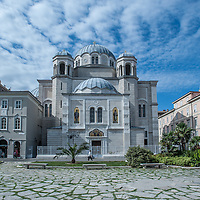 The Serbian Orthodox  Saint Spyridon church in Trieste, Italy on a beautiful sunny day
