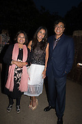 Usha Mittal, MEGHA MITTALL; Lakshmi Mittal, Serpentine's Summer party co-hosted with Christopher Kane. 15th Serpentine Pavilion designed by Spanish architects Selgascano. Kensington Gardens. London. 2 July 2015.