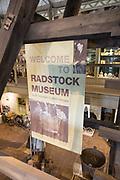 Welcome to Radstock museum, north Somerset coalfield heritage sign, Radstock, Somerset, England, UK