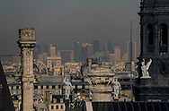 France. Paris. elevated view.  The hotel de ville roofs   the sentinel