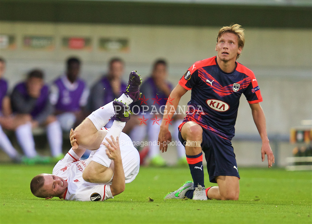 BORDEAUX, FRANCE - Thursday, September 17, 2015: Liverpool's Jordan Rossiter is injured after a tackle by FC Girondins de Bordeaux's Clement Chantome during the UEFA Europa League Group Stage Group B match at the Nouveau Stade de Bordeaux. (Pic by David Rawcliffe/Propaganda)