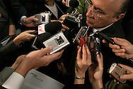 Sao Paulo, SP, Brasil, 18/06/2007, 15h12: O ministro Henrique Meirelles, presidente do Banco Central,concede entrevista apos almoco-palestra na Amcham (Camara Americana do Comercio) na zona sul de Sao Paulo.   foto:Caio Guatelli