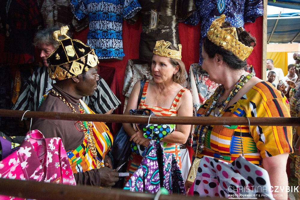 King Cephas Bansah, Queen Gabriele Bansah and Dr. Susi Dattenberg-Doyle (Queen Mother of Gbi Kpoeta Ghana) went shopping after the opening ceremony of a traditional market<br /> <br /> Day 2 of the Agbogboza Festival in Notse, Togo on September 2nd, 2016<br /> <br /> ***Togbe Ngoryifia Cephas Kosi Bansah of Gbi Traditional Area Hohoe Ghana and Traditional, Spiritual and Honorable King of the Ewes and his wife, Queen Mother Gabriele Akosua Bansah Ahado Hohoe Ghana***