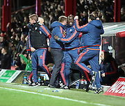 Brentford manager Dean Smith celebrating second goal during the Sky Bet Championship match between Brentford and Milton Keynes Dons at Griffin Park, London, England on 5 December 2015. Photo by Matthew Redman.