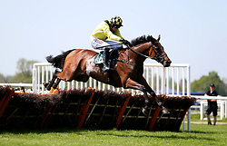 Gortroe Joe ridden by jockey Harry Skelton goes onto win the Olly Murphy Racing Novices' Hurdle during Kids Carnival Day of The Qatar Airways May Racing Carnival at Warwick Racecourse.