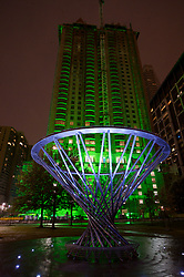Stock photo of The Mist Tree fountain at night