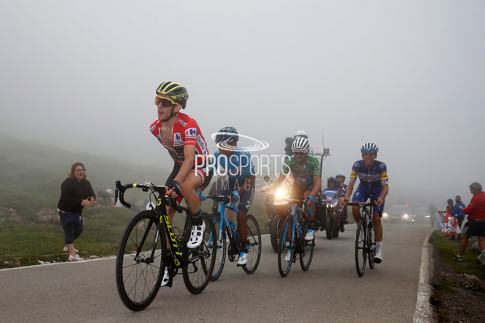 Simon Yates (GBR, Mitchelton Scott), Nairo Quintana (COL, Movistar), Alejandro Valverde (ESP, Movistar) and Enric Mas (ESP, QuickStep Floors) during the 73th Edition of the 2018 Tour of Spain, Vuelta Espana 2018, Stage 15 cycling race, 15th stage Ribera de Arriba - Lagos de Covadonga 178,2 km on September 9, 2018 in Spain - Photo Luca Bettini/ BettiniPhoto / ProSportsImages / DPPI