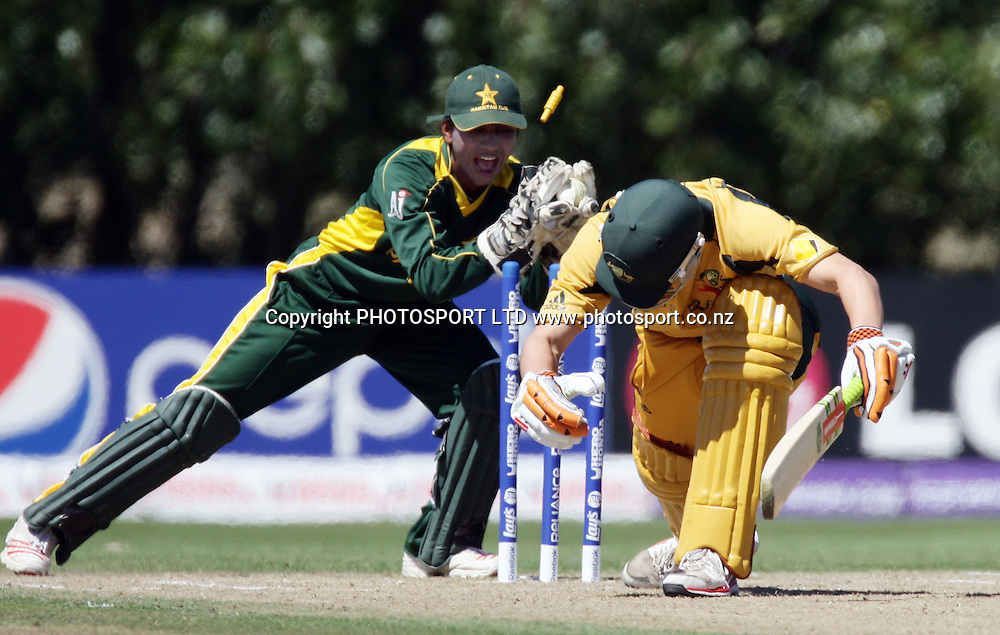 Pakistan Wicketkeeper Mohammad Waqas unsuccesfull attempt at stumping Tom Triffit off Usman Qadir. Australia v Pakistan, U19 Cricket World Cup Final, Bert Sutcliffe Oval, Lincoln, Christchurch, Saturday 30th January 2010. Photo : PHOTOSPORT