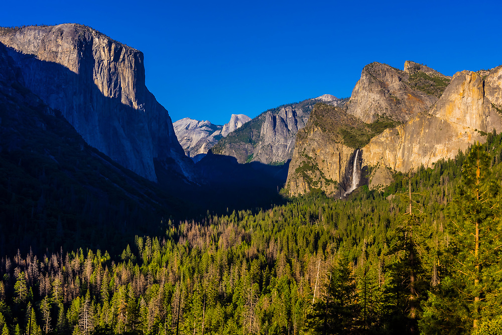 Yosemite Valley with El Capitan, Half Dome and Bridalveil Fall, Yosemite National Park, California USA.
