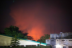 June 12, 2017 - Marawi, Lanao del Sur, Philippines - A fire rages following a 2AM airstrike by the Philippine Air Force in Marawi City, southern Philippines, June 12, 2017. The military is stepping up its aerial offensives in a race to liberate the City of Marawi from Islamic militants in time for Philippine Independence Day on June 12. (Credit Image: © Richard Atrero De Guzman/NurPhoto via ZUMA Press)