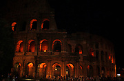 Night time view of the Colosseum, an elliptical amphitheatre in the centre of the city of Rome. Built 70-80 AD. Rome. Italy 2013