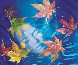 Blue water patterns waves fall autumn colored leaf leaves..introspection psychoanalysis psychiatry psychology woman asleep awake stare staring