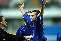 Fotball, 15. oktober 2003, UEFA - cupen, 1 runde, Molde Stadion, Molde-Leiria,  Magne Hoseth, Mode jubler etter sin andre scoring for dagen